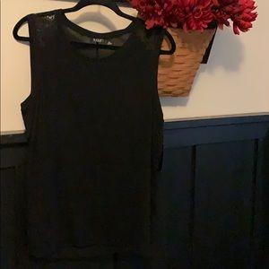 ANA black tank top lace sides NWT PXL knit/crepe